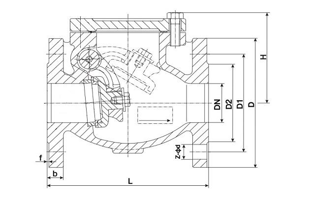 Клапан обратный поворотный, строительная длина 240 мм